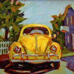 "Daily Paintworks - ""Thats Classic Yellow Volkswagen This was a commission done from a previous painting but the customer wanted a yellow VW. I can do these in any color :D"" - Original Fine Art for Sale - © Mary Sheehan Winn"