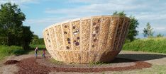 sustainable pavilion by st. andré-lang architectes made from corn and wood