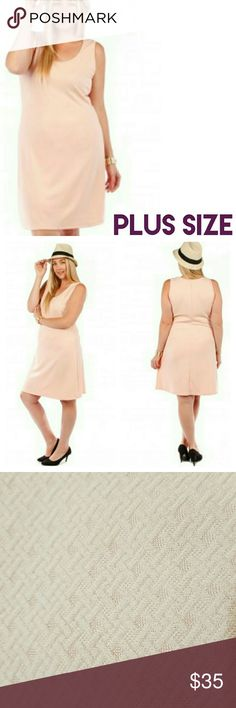 JUST IN!☆Peach Sleeveless Dress Knee length dress with texture design print. Light peach color. 95% Polyester 5% Spandex. Heavier type fabric. This is a brand new boutique item but does not come with tags attached. Brand is Yummy Plus. I'm happy to provide measurements for a particular size upon request. Boutique  Dresses