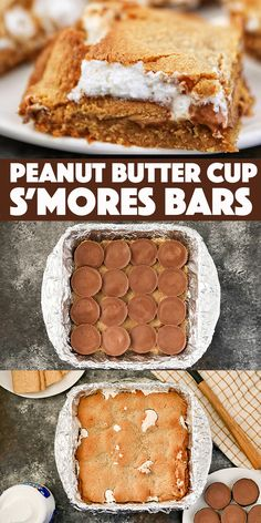 Peanut Butter Cup S'Mores Bars - graham cracker cookie dough loaded with Reese's Peanut Butter Cups and fluffy marshmallow creme. Easy No Bake Desserts, Fun Desserts, Dessert Recipes, Bar Recipes, Brownie Recipes, Chocolate Recipes, Cookie Recipes, Baking Recipes, Cookies