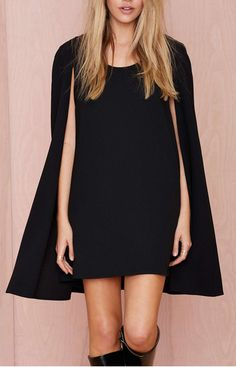 Little Black Dress : Nasty Gal Catherine Cape Dress Cape Dress, Tank Top Dress, Dress Me Up, Lbd Dress, Rocker, Looks Style, Mode Inspiration, Mode Style, Nasty Gal