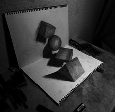 """Illusion: This is a small selection of anamorphic art by Nagai Hideyuki. If you watch the videos within post, you will get a better perception of how the drawings were made. See also: """"Popping out of the Sketchbook,"""" and """"Drawings Come to Life.""""     http://illusion.scene360.com/art/36816/three-dimensional-drawings/"""