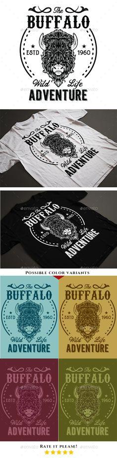 #Vintage #Buffalo T-Shirt - #T-Shirts Download here: https://graphicriver.net/item/vintage-buffalo-tshirt/18709959?ref=alena994