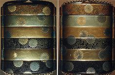 Case (Inrô) with Design of Scattered Pawlonia Blossoms  Period: Edo period (1615–1868) Date: 18th–19th century Culture: Japan Medium: Lacquer, fundame, nashiji, hirame, silver ground, gold and silver hiramakie; Interior: nashiji and fundame