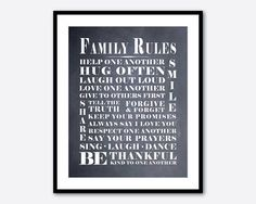 Family Wall Art Family Rules - Room Decor - Subway Art - Playroom Art - Typography - 8 x 10 print - black and white, chalkboard, vintage on Etsy, $15.00