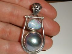 Sterling Silver Opal and Mabe Pearl Pendant #Pendant