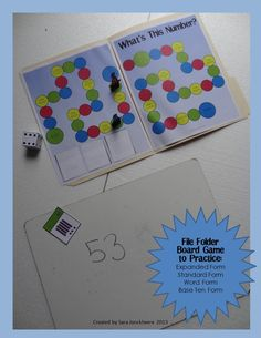 File Folder Board Game - Place Value: Base Ten, Expanded Form, Number Form. CCSS Aligned for Grades 1 and Includes two sets of cards (both 2 and 3 digit numbers) to allow for differentiation. Math Tutor, Math Skills, Teaching Math, Life Skills, Teaching Ideas, Math For Kids, Fun Math, Math Games, Math Activities