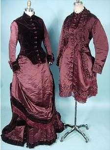 circa 1883 3-piece Bustle Gown Visiting Toillette with Partial Additional Bodice.
