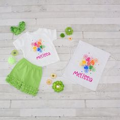 Rainbow Paint - 4pc Personalized Shirt, Short and Bag Set