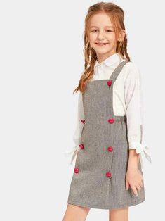 love the red buttons Cute Little Girl Dresses, Dresses Kids Girl, Cute Girl Outfits, Cute Dresses, Kids Outfits, Little Girl Fashion, Kids Fashion, Fashion Black, Fashion Spring