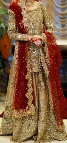 Red and golden Pakistani Fashion Party Wear, Pakistani Wedding Outfits, Pakistani Wedding Dresses, Bridal Outfits, Wedding Lehnga, Red Wedding, Wedding Ideas, Walima Dress, Shadi Dresses