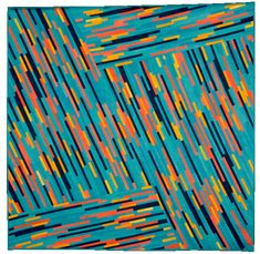 "Luminosity in Teal, Coral and Gold, 63 x 63"", by Judith Larzelere 