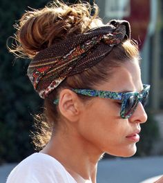 Eva Mendes A fun scarf or headband will keep flyaways (or bangs) at bay while making a statement. Try it on wet hair to stop your natural curls from frizzing as they dry. Try: Claire's Tie-Dye Knotted Headwrap ($6.50, claires.com)