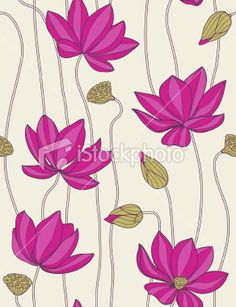 Pink Lotus - Seamless Pattern Stock Illustration - Illustration of pattern, floral: 11401153 Flower Pattern Drawing, Floral Drawing, Flower Patterns, Lotus Flower Art, Lotus Art, Pink Lotus, Pichwai Paintings, Indian Art Paintings, Madhubani Art