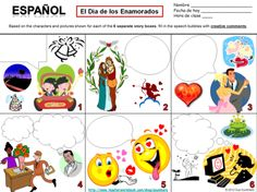 Spanish Valentine's Day Speech Bubble Creative Writing Activity from Sue Summers on TeachersNotebook.com - (1 page) - Students use their imaginations and creativity as they complete 6 different squares containing quirky characters and scenes related to love and Valentine's Day.