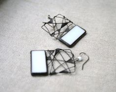 Earrings Unique White Rectangles - Spider Web Cooper Stained Glass - Statement Jewelry