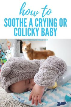 5 Tips to Soothe a Crying or Colicky Baby • Two Boys One Pup How to sooth a baby with excessive crying or colic. Gerber®️️ Soothe has worked wonders for when we need to calm or twins. It contains probiotics, similar to what is found in breastmilk. #formulaforhappiness