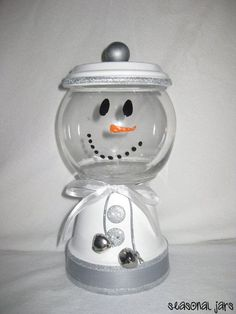 Medium Sized Clay Snowman Candy Jar dish by SeasonalJars on Etsy, $14.99 @ decorating-by-daydecorating-by-day
