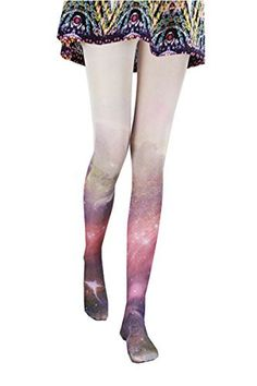 6af0c3d4c9511 Amazon.com: Ouying Women's Starry Sky Prints Gradual Color Lolita Tights  (one size, Aerospace printing): Clothing
