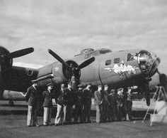 I believe my dad is the third to the last one to the right (but then may be the shorter one near there...can't really tell) and was the ball-turret gunner on this plane named by Margaret Bourke-White.