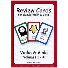 Review Cards for Suzuki Violin & Viola Volumes 1-4. Using Meredith Strings Review Cards, and doing the suggested activities can add energy and focus to your practice session and make review more fun and motivating. This colorful deck of cards contains 53 cards -- one for every piece in the first four volumes of the revised Suzuki literature.