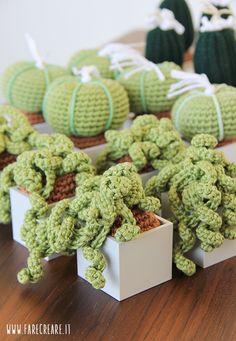 trasformare le piante grasse amigurumi in bomboniere.