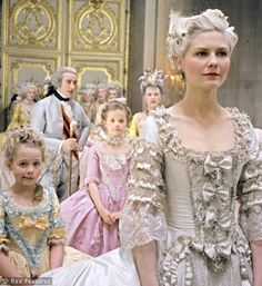 One of my favourite actresses, Kirsten Dunst, starring in one of my favourite directors' film (Sophia Coppola), Marie Antoinette. Not one of my favourite films, but tis a lavish feast for the eyes.