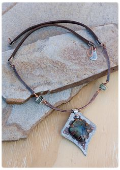 Rustic Labradorite Necklace -  Hand Forged Copper Wire Necklace - Statement Copper Necklace - Protection Necklace, magic stone