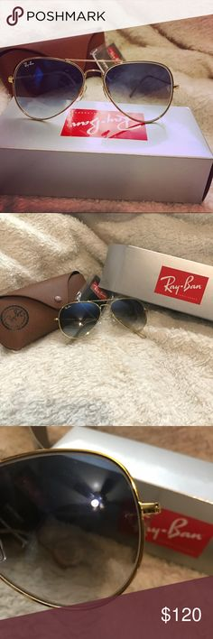 Ray-ban blue gradient aviators ⭐️no scratches , basically new and comes with box, brown case and cleaning cloth  is still in plastic .  ⭐️They were worn once (so brand new sticker on lenses is off lol) but I still have all the original packaging like new from the website. 🎁    I customized these on their website then found blue flash lenses here on posh that I like better   ⭐️lense: blue gradient (darker than my 55s I have listed) 58-14 standard size       ⭐️frame: gold ⭐️temple:transparent…
