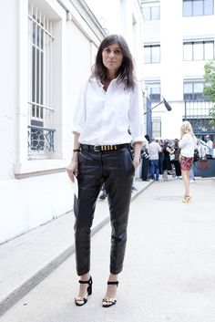Emmanuelle Alt wearing Classic White Shirt + Black Leather Pants | Street #Style
