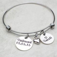 Bridesmaid Hand Stamped Bangle Charm Bracelet, Personalized with Wedding Date | jessiegirljewelry.com