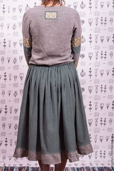 Linen and velveteen dress / Oksana Solovaya  https://www.etsy.com/shop/SomDress