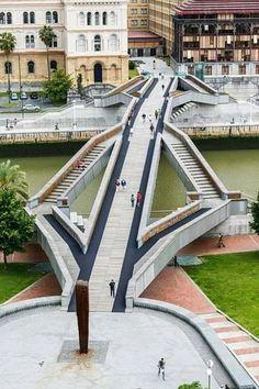 Pedestrian bridge to Deusto University. Bridges Architecture, Concept Architecture, Architecture Details, Landscape Architecture, Landscape Design, Pedestrian Crossing, Pedestrian Bridge, Bilbao, Bridge Design
