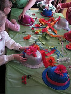 Great activity for an Alice in Wonderland Party!  Create your own Mad Hatter Hat!    #mad hatter #wonderland