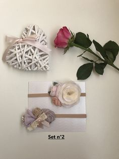 Excited to share the latest addition to my #etsy shop: Set of two baby (0-3 months) headbands - flower/bow #accessories #beige #baby #babyband #babyheadband #headband #flowerheadband #babyhead #flowerbaby