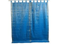 """2 India Brocade Curtains Blue Gold Tab Top Sari Drapes Window Treatment 96"""" by Mogul Interior. Save 31 Off!. $68.00. Brocade Silk curtains actually gives a great impact to get the luxurious look of a room design.. Fabric: Brocade Silk Sari fabric,Tab Top curtain.. Brocade Silk. Here is vibrant & stunning work of craftsmanship that combines exquisite silk sari fabric with gorgeous Golden border to create a lovely pair of Turquoise Blue sari curtains / drapes.. Unit: Sold in pairs..."""