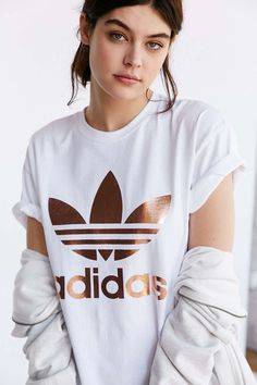 adidas Originals Rose Gold Double Logo Tee Urban Outfitters-size small