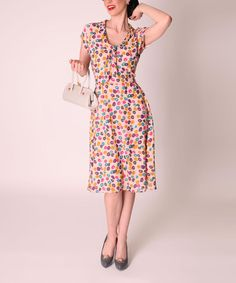 Another great find on #zulily! Pink & Yellow Circle A-Line Dress - Women & Plus by Tatyana, LCC #zulilyfinds