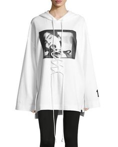 Front-Lacing Long-Sleeve Hoodie, White