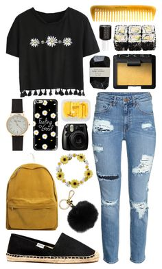 """""""Feeling Good"""" by meaganmuffins ❤ liked on Polyvore featuring H&M, Soludos, MICHAEL Michael Kors, Casetify, Carole, NARS Cosmetics, Cassia, Fujifilm, MANGO and Hermès"""