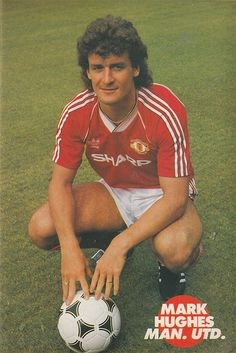 July 1988. Manchester United and Wales striker Mark Hughes, pictured at Old Trafford. Manchester United Legends, Manchester United Football, Retro Football, Football Kits, Old Trafford, Man United, Wales, 1980s, Terrace