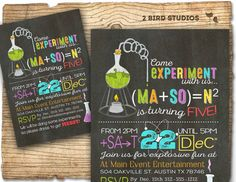 Science birthday party invitation Science by 2birdstudios on Etsy