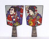 Vintage Japanese Fan - Paddle Fan Samurai and Geisha