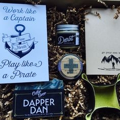 The Men's Bundle - A perfect gift for a birthday, fathers day, promotion, groomsmen or just because. Items included: Itty Bitty Catch-All by @littlelysewings, @detroitgrooming Pomade, Dapper Dan Bar Soap by Cellar Door Bath Supply, Field Notes Notebook & Men's Print by Small Moments, and Muscle Balm by @sweetpeaflorald.