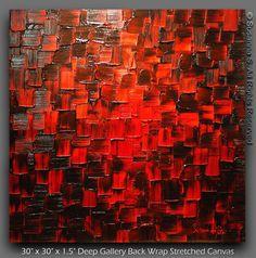 ORIGINELE grote moderne zwarte Rode abstracte door ModernHouseArt