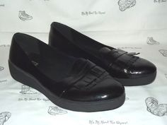 47dca6289312eb FITFLOP Fringey Black Patent Leather Loafer Sneakers Womens Size 11   fashion  clothing  shoes