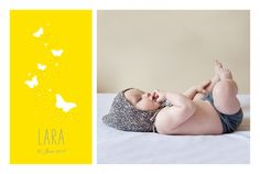 Geburtskarte Schmetterlinge 5 Fotos by Tomoë für Rosemood.de #Baby #Schmetterling #Geburtskarte