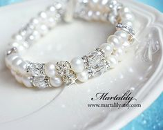 White Pearl Cuff Bracelet Crystal Cuff Bracelet Pearl by MARTALILY, £43.00