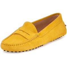Tod's Suede Gommini Penny Loafer ($299) ❤ liked on Polyvore featuring shoes, loafers, shoes flats loafer, yellow, loafer flats, slip on flats, driving loafers, penny loafers and slip-on loafers