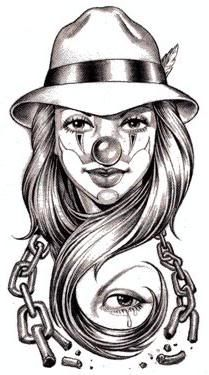 9 Laughing and Creepy Clown Tattoo Designs Gangster Tattoos, Chicano Art Tattoos, Chicano Drawings, Kunst Tattoos, Art Drawings, Tattoo Art, Chicano Tattoos Gangsters, Lowrider Drawings, Skull Tattoo Design